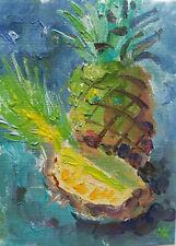 ACEO Pineapple Still Life Original Oil painting Miniature Art 2.5x3.5in MK