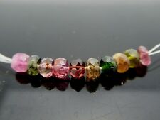 Natural Multi Color Tourmaline Transparent Faceted Rondelle Gemstone 10 Beads