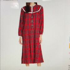 New M LANZ OF SALZBURG 100% Cotton Red Plaid Flannel Nightgown White Lace Yoke