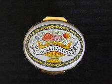 English Enamels by Crummles Oval Trinket or Pill Box Floral Congratulations