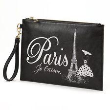 "NWT Apt. 9 Luna Travel "" Paris"" Oversized Envelope Wristlet, Women's, Black"
