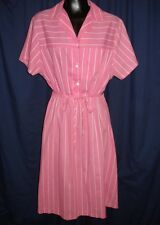 VTG Retro Pink & White Stripe Collar Short Sleeve Dress Retro Funky Pattern 1Y19
