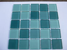 Mixed Green Glass Tiles 25 x pcs for MOSAIC & Glass Crafts Approx 2.2cm x 2.2cm