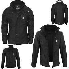 Nueva chaqueta para hombre cálida Crosshatch Cremallera Completa Acolchado Botón De Doble Capa De Abrigo De Invierno