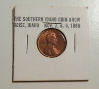 1980 Southern Idaho Coin Club Show with 1980D unc Lincoln cent