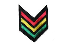 "RASTA COLORED CHEVRON Embroidered Iron-On PATCH CREST BADGE..2.5 ""x 3.5"" Inch"
