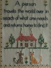 "Vintage Needlework Wood Frame Country Cottage 15"" X 12"" "" Travel & Home"""