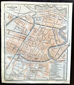1910 ANTIQUE COLOR MAP - HAARLEM, NETHERLANDS - Street Detail - 100% AUTHENTIC