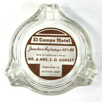 El Campo Motel Hwy 49/88 Jackson CA Vintage AshTray Glass Triangle EO Goulet