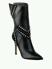 $249 GUESS MID CALF BOOTIES BLACK LEATHER STUDS RHINESTONES HIGH HEELS SIZE 7.5