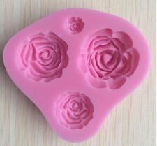 Kitchen Sugarpaste 4 Roses Flower Modelling Pastecup Cake Topper Icing Mould Z