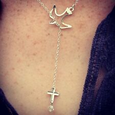 Sterling Silver Freedom Peace Dove & Cross Lariat Style Necklace