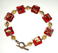 24K Gold and Crimson Murano Glass Bracelet