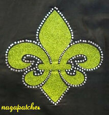 Pattern Floquer Patch Rhinestone Fusible and Glitter Fleur de Lys