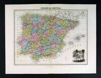 1877 Migeon Map Spain Portugal Europe Alhambra Vignette