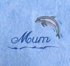 Dolphin EMBROIDERED monogrammed PERSONALISED- GIFT- Mum - Nan - PLUSH Bath Towel