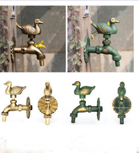 Outdoor Animal Brass Vintage Style Garden Wall Mounted Water Taps Faucets Duck