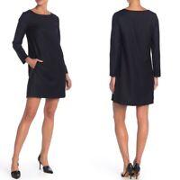 Theory Size M Medium Black Long Sleeve Paneled Shift Dress Womens