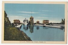 Steamer leaving Lift Locks PETERBOROUGH Ontario Canada 1940 PECO Postcard 5