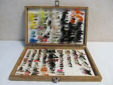 WOODEN BOX WITH 228 MIXED FLIES - NEW & USED