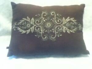 "Nate Berkus 14"" Brown Linen Gold Metal Embroider Button Close Accent Back Pillow"