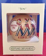 Hallmark Unbreakable Satin Ball Ornament Son Dated 1982 NEW