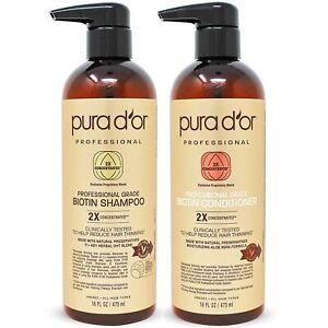Pura D'or Professional Grade Anti-Hair Thinning Shampoo & Conditioner 16oz 2Xco