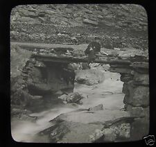 Glass Magic Lantern Slide MAN SITTING ON A STONE BRIDGE C1890 PROBABLY IN WALES
