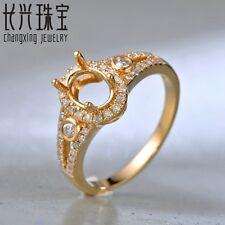 Oval 5x7mm 14k Yellow Gold 0.32ct SI Halo Natural Diamond Split Shank Ring