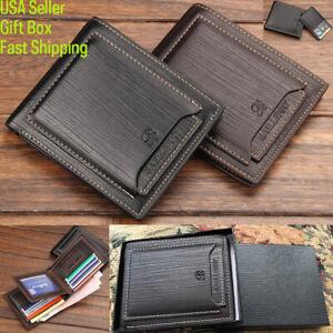 Men's Bifold Leather Wallet +Gift Box ID Credit Sim Card Holder Billfold Clutch
