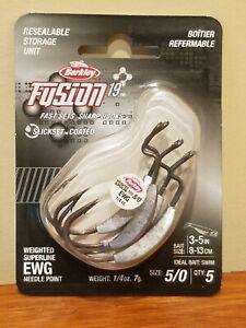 Berkley Fusion 19 SlickSet 1/4oz Weighted Superline EWG Needle Point 5/0 Hook x5