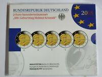 2 Euro Gedenkmünzenset BRD 2018 Helmut Schmidt ADFGJ + PP + im Blister ADFGJ