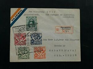 1934 REGISTERED SNIP COVER SURINAME VIA CURACAO TO DUTCH INDIES VF B.681.5 0.99$