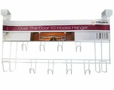 10 HOOK OVER THE DOOR CLOTHES COAT HANGER BATHROOM IRONING STORAGE RACK WHITE