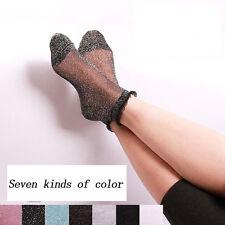 Sexy Women Summer Ruffle Glitter Mesh Ankle Socks Silver  Gauze Fishnet Socks