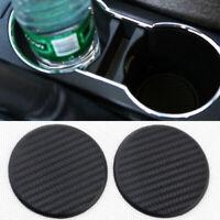 2Pcs Auto Car Water Cup Slot Non-Slip Carbon Fiber Look Mat Accessories Decor
