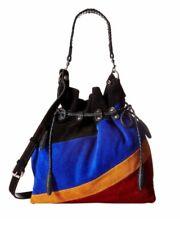Patricia Nash caffarelli multi color suede draw string handbag bag