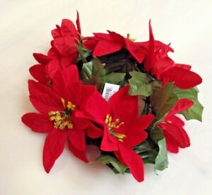 """Red Microfiber Poinsettia 6.5"""" Candle Ring Pillar Taper Christmas Home Decor US"""