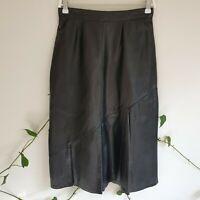 Vtg 80s Black European Leather Diagonal Pleated Midi Skirt S Lined High Waist