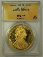 1915 Austria Four Ducats Gold Coin Restrike ANACS MS-67 Cameo Beautiful Gem (B)