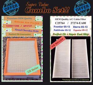Engine&Cabin For Frontier Equator V6 NV Pathfinder Xterra Air Filter 4727 25764