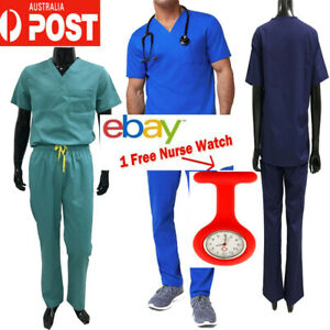 Male Scrubs Set Nursing Medical Doctor nurse Uniform Short Sleeve 7++ POCKETS