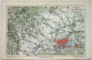 Frankfurt & Vicinity - Original 1905 Map by Meyers. Germany. Antique