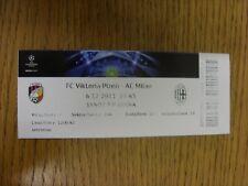Billete De 06/12/2011: Viktoria Plzen v AC Milan [] Liga de Campeones. gracias por Vie