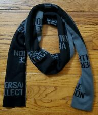 Versace Collection Men's Black Gray Wool Blend Scarf 70x12 Logo NWT $220
