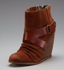 SEYCHELLES SHOES THRILLER WEDGE BOOTIES SUEDE WHISKEY ANKLE BOOTS 7 $140