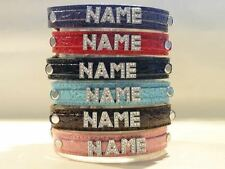 Rhinestone Personalized Faux Leather Dog Pet Collars Customized FREE Name