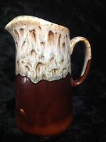Vintage Canonsburg Pottery CAN 38 Pitcher 64 oz Brown Drip Green Edges USA