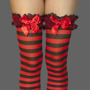 HALLOWEEN COSTUME FANCY GARTER TOP BLACK RED STRIPE STOCKINGS THIGH HIGH NWT