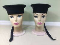 VINTAGE 1950'S BLACK WOOL CANADIAN MILITARY NAVAL SAILOR HATS LOT OF 2 SZ. 6 3/4